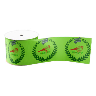 Cardinal In The Middle Of The Christmas Wreath Grosgrain Ribbon