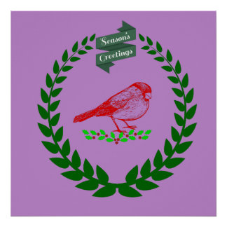 Cardinal In The Middle Of The Christmas Wreath Poster