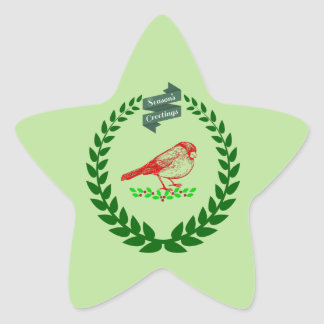 Cardinal In The Middle Of The Christmas Wreath Star Sticker