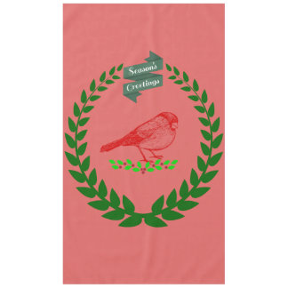 Cardinal In The Middle Of The Christmas Wreath Tablecloth