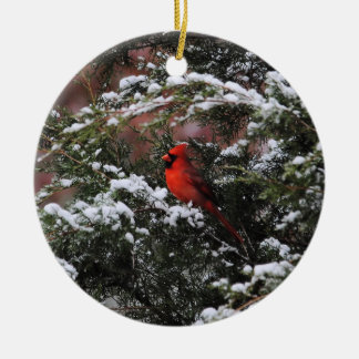 Cardinal in the Snow 2 Round Ceramic Decoration