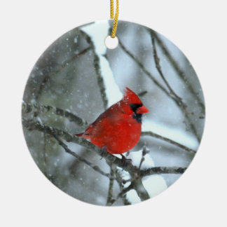Cardinal In The Snow Christmas Ornament