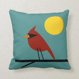 Cardinal in the Sun Aqua Throw Pillow