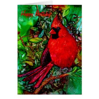 Cardinal In the Tree Birthday Card