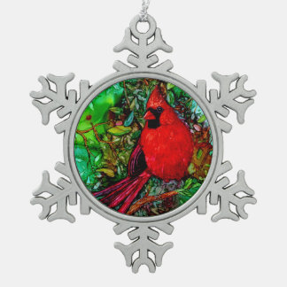 Cardinal In the Tree Snowflake Pewter Christmas Ornament