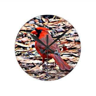 Cardinal (Male) Round Clock