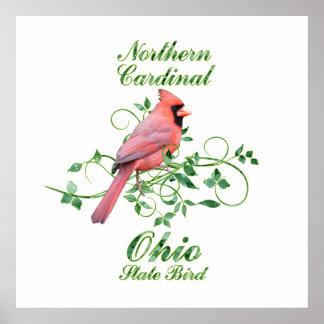 Cardinal Ohio State Bird Poster