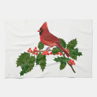 Cardinal on a Holly Leaf Hand Towels