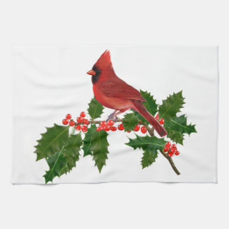 Cardinal on a Holly Leaf Tea Towel