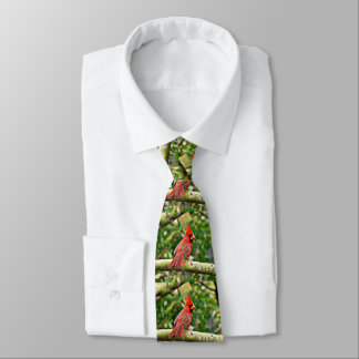 Cardinal on a Limb Men's Tie