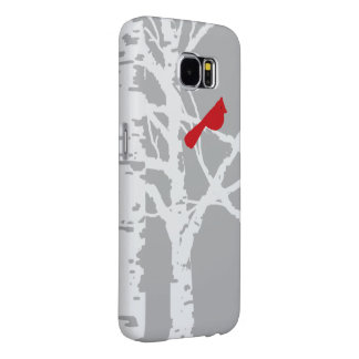 Cardinal on birch tree branch. Phone cover. Samsung Galaxy S6 Cases