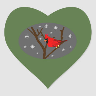 Cardinal On Branches With Green Background Sticker
