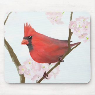 Cardinal on Cherry Blossom Mouse Mat