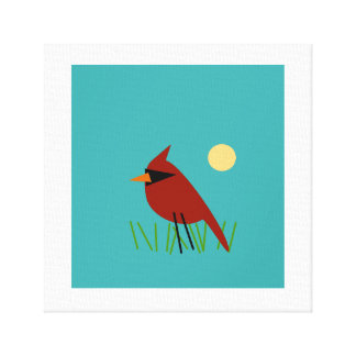Cardinal on Grass with Aqua Blue Green Canvas Print