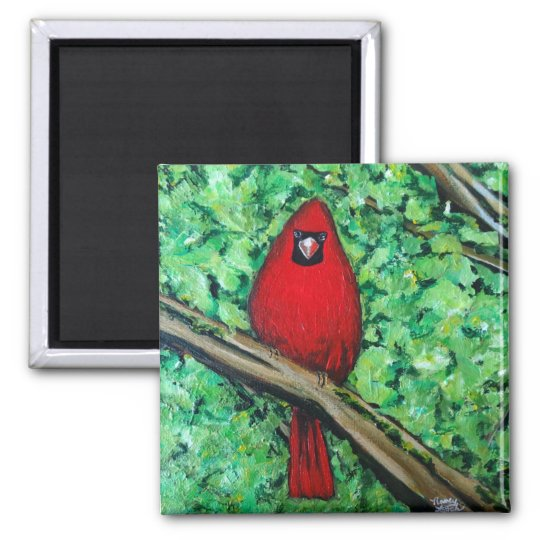 Cardinal Painting, 2 Inch Square Magnet