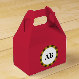 Cardinal red solid color with monogram favour box