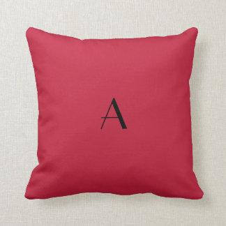 Cardinal Red Throw Pillow w Black Monogram