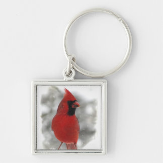 Cardinal Silver-Colored Square Key Ring