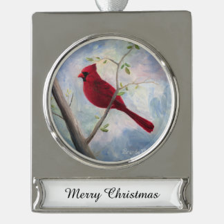 Cardinal Silver Plated Banner Ornament