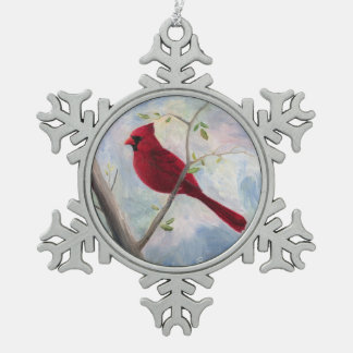 Cardinal Snowflake Pewter Christmas Ornament