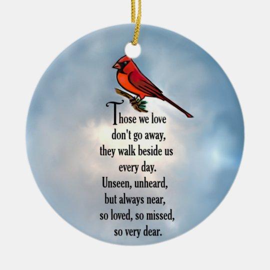 "Cardinal ""So Loved"" Poem Round Ceramic Decoration"