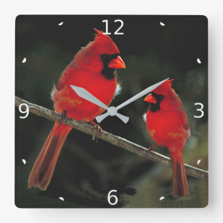 CARDINAL SQUARE WALL CLOCK