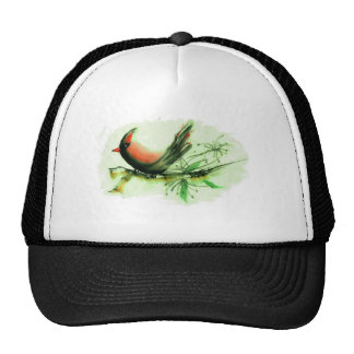 Cardinal - Sumi-e ink painting Mesh Hats