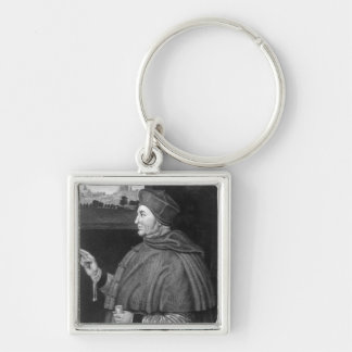Cardinal Thomas Wolsey Silver-Colored Square Key Ring