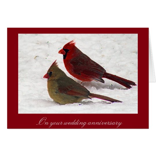 Cardinal Wedding Anniversary Card