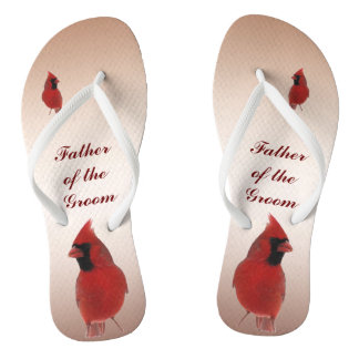 Cardinal Wedding Father of the Groom Flip Flops