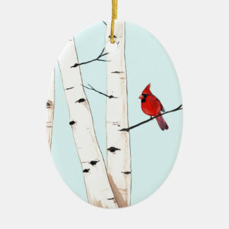 Cardinal with Birch Trees Ceramic Oval Decoration