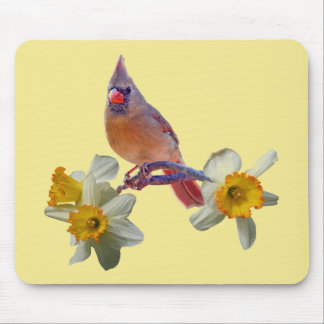 Cardinal with Daffodils - Mouse Mat