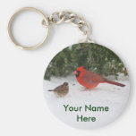 Cardinal with Sparrow Basic Round Button Key Ring