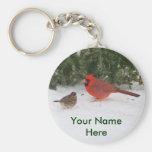 Cardinal with Sparrow Keychain