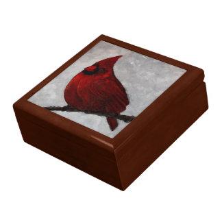 Cardinal Wooden Jewelry Keepsake Box