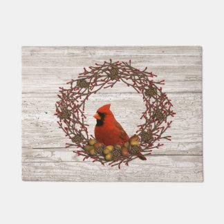 Cardinal Wreath Door Mat