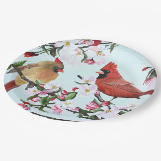 Cardinals and Apple Blossoms 9 Inch Paper Plate