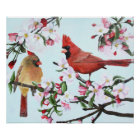 Cardinals and Apple Blossoms Poster