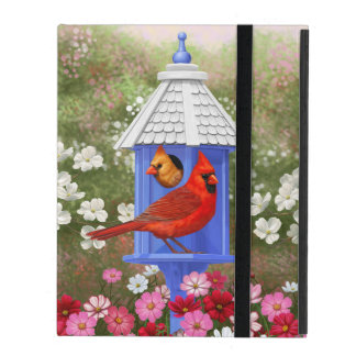 Cardinals and Blue Birdhouse iPad Folio Case