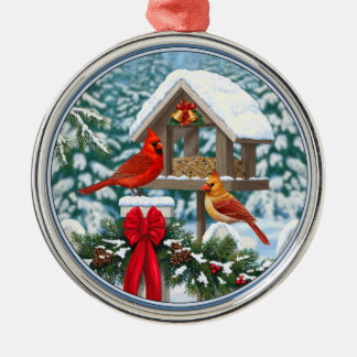 Cardinals and Christmas Bird Feeder Silver-Colored Round Decoration