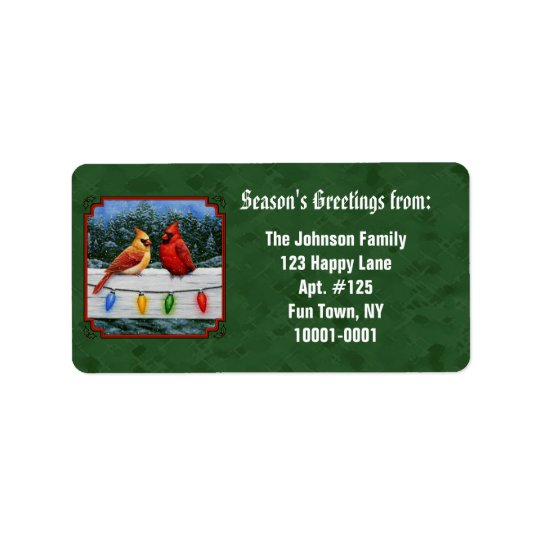 Cardinals and Christmas Lights Green Address Label