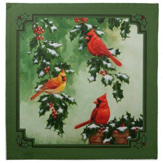 Cardinals and Christmas Lights Green Napkin