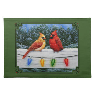 Cardinals and Christmas Lights Green Placemat