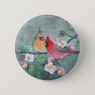 CARDINALS & APPLE BLOSSOMS by SHARON SHARPE 6 Cm Round Badge
