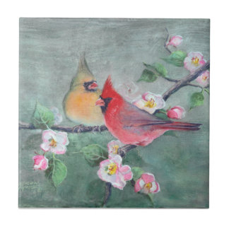CARDINALS & APPLE BLOSSOMS by SHARON SHARPE Small Square Tile