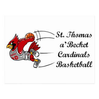 Cardinals basketball script postcard
