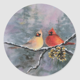 CARDINALS by SHARON SHARPE Round Sticker