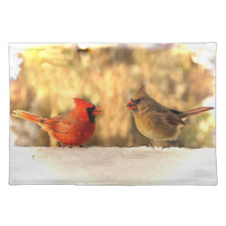 Cardinals in Autumn Cloth Place Mat