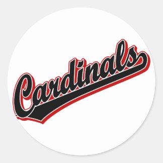 Cardinals in Black Classic Round Sticker