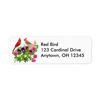 Cardinals in Garden Label
